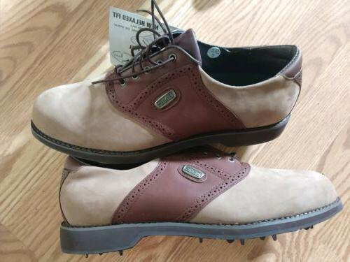 ETONIC STABILITE GOLF SHOES CLEATS 10 BROWN LEATHER