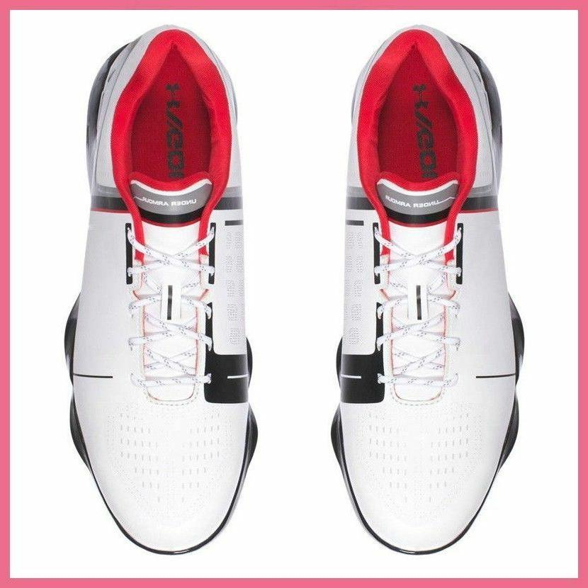 UNDER ARMOUR ONE JR. SHOES SIZE 6Y WHITE RED