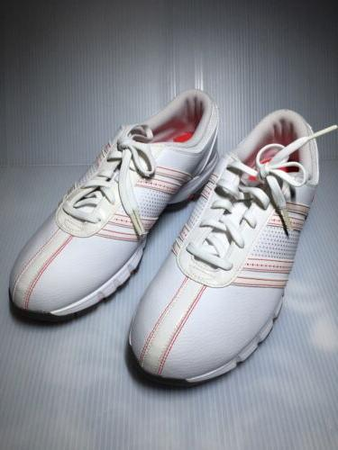 Women 9 NIKE GOLF Shoes White/Red Leather Nike Air Comfort T