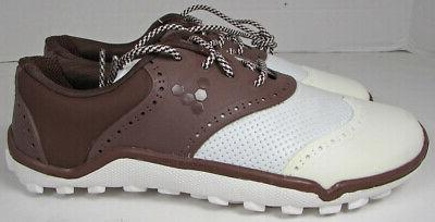Vivobarefoot Womens Linx Lace Up Golf Shoes, Chocolate/White