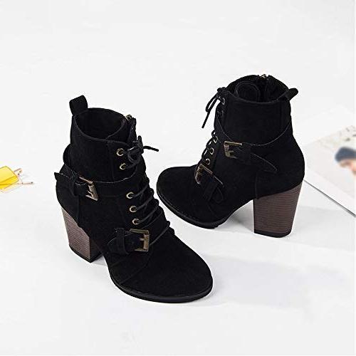 XoiuSyi Solid Boots Heel