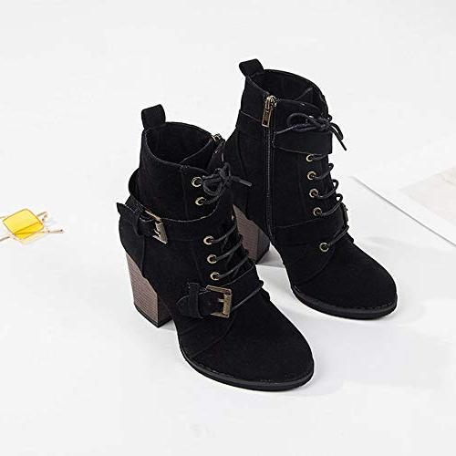 XoiuSyi Women High Heel Lace-Up Boots Zipper