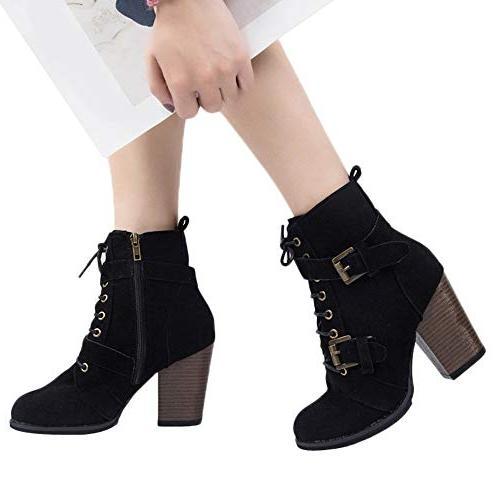 XoiuSyi High Lace-Up Boots Zipper Boots Heel
