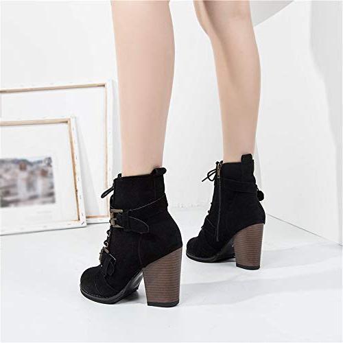 XoiuSyi Solid Color High Heel Boots Heel Shoes