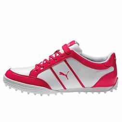 Puma Ladies Monolite Cat Spikeless Golf Shoes White/Raspberr