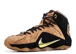 NIKE Men's Lebron XII Ext Cork Brown/Gold Basketball Shoes B