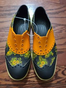 Biion Luau Aloha Slip On Golf Shoes Orange Black Floral Men'