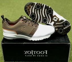 FootJoy Men's Golf Contour Fit Shoes 54096 White/Brown 8.5 M