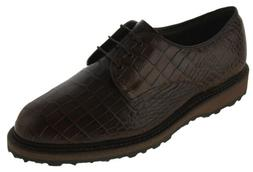 Allen Edmonds Men's Haskell Golf Shoe Brown Croc Embossed St