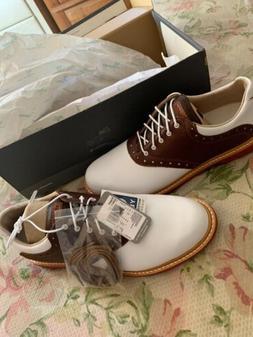 Ashworth Men's Kingston White/ Brown Golf Shoes G54232 7 MEN
