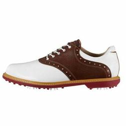 Ashworth Men's Kingston White/ Brown Golf Shoes G54232 7 MEN