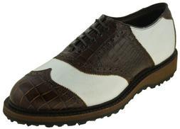 Allen Edmonds Men's Legend Wingtip Golf Shoe Brown White Sty