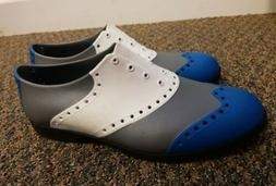 BIION Men's Rubber Wingtip Golf Shoes Gray Blue White Size 1