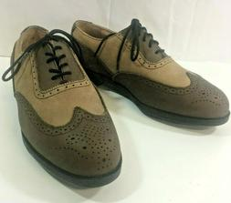 Ashworth Mens 9.5 M Brown Leather Lace Up Wing Tip Metal Cle