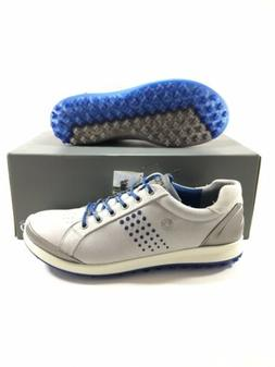 ECCO Mens Biom Hybrid 2 Golf Shoes Concrete Grey Royal Blue