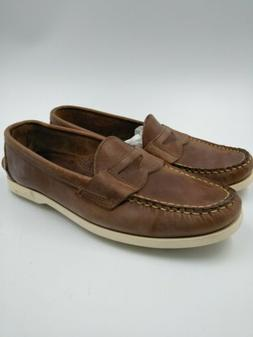 Canoos Mens Brown 10D Leather Golf Shoes Hand sewn Maine - M