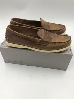 Canoos Mens Brown 12d Leather Boat Golf Shoes  Hand sewn Mai