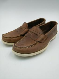 Canoos Mens Brown 7D Leather Boat Golf Shoes  Hand sewn Main