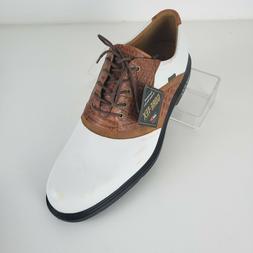 Mens Ecco Golf Shoes Saddle Gore Tex Oxford Croc Pattern Bro