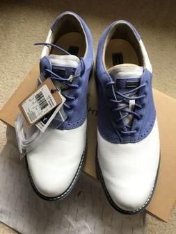 MEN'S ASHWORTH LEUCADIA TOUR GOLF SHOES BLUE SUEDE/ WHITE