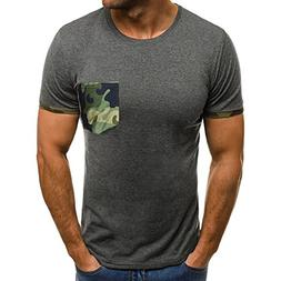 Mens Muscle T-Shirt ! Slim Casual Fit Short Sleeve Camouflag