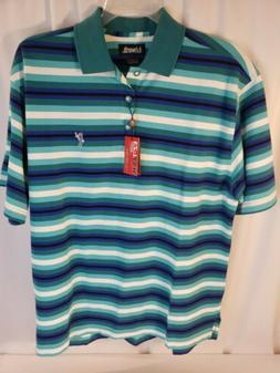 Ashworth Mens Sz. LARGE Polo Golf Shirt  EZ-Tech - Blue Gree