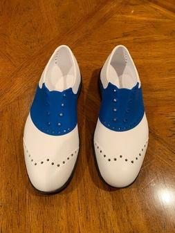 New BIION Blue & White Saddless Spikeless Golf Shoes Mens 5