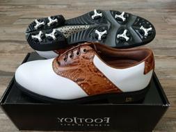 NEW Footjoy FJ ICON Mens Golf Shoes 52013 Wh/Brn Croc 9 Medi