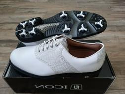 NEW Footjoy FJ ICON Mens Golf Shoes Wh/Wh Lizard 11 Medium
