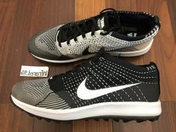 NEW Nike Flyknit Racer G Men's Sizes Golf Shoes Oreo Black 9