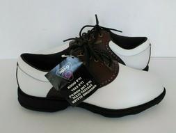New Etonic Lites Golf Shoes Saddle White & Brown Champ Q-LOK