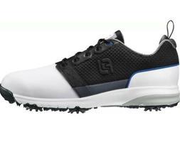 NEW White / Black Saddle FootJoy Mens Contour FIT Golf Shoes
