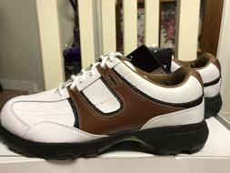 NEW with Box !!! ETONIC G-SOK White/Brown Leather Golf Shoes