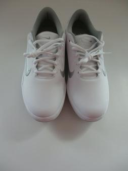 New Women's Nike Golf Shoes White w/Silver Swoosh - Size 8.5