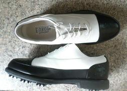 NEW FOOTJOY Womens Size 8 M Black/White Leather Waterproof S