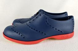 NWT Biion Brights Golf Shoes Navy Blue Red, Womens 7 Mens 5