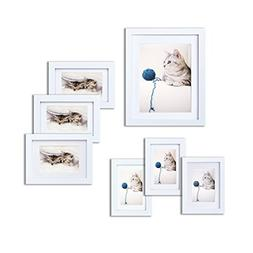 INNOCHEER Picture Frame Set of 7: Solid Wood, Three 4x6 Inch