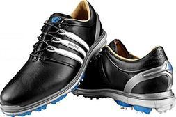 adidas Men's Pure360 Golf Shoe,Black/White/Samba Blue,10 M U