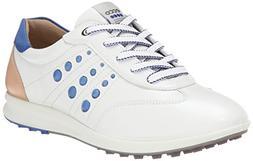 ECCO Women's Street EVO One Luxe Golf Shoe,White/Mazarine Bl