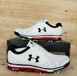 UNDER ARMOUR TEMPO TOUR GOLF SHOES  WHITE/BLACK/RED MEN'S SZ