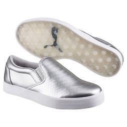 Puma Tustin Slip-On Womens Golf Shoes 189424-03 Silver/White