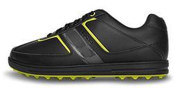 crocs Men's Tyne Lo Pro Golf Shoe,Black/Citrus,7.5 M US