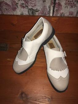 Ashworth Womans Golf Shoes Size 6.5 White Taupe Saddle. Styl