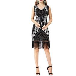 Todaies Women Vintage 1920s Bead Fringe Sequin Lace Party Fl