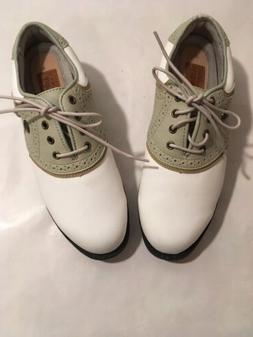 Womens Ashworth Footwear White/Tan/Leather Soft Spike GolfSh