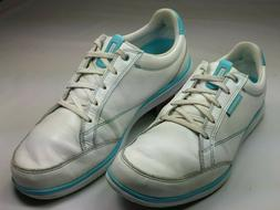 Ashworth Women's Spikeless Golf Shoes White Leather w Blue