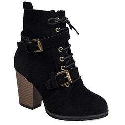 XoiuSyi Women Solid Color High Heel Lace-Up Suede Boots Zipp